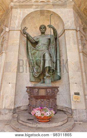St Ambrose Statue In Temple Of Victory In Milan, Italy