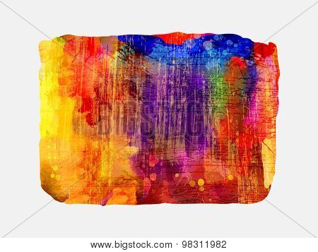 Bright watercolor  stain with colored smudges. Red, violet, orange, blue.