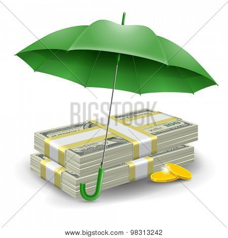Two packs of dollars and golden coins under the green umbrella. Concept of money protect. Vector illustration.