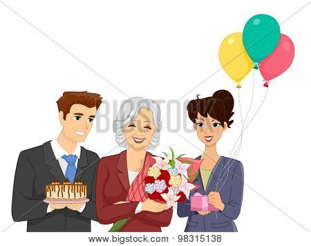 Illustration of Office Workers Throwing a Retirement Party for Their Elderly Co Worker