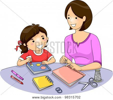 Illustration of a Mother Teaching Her Daughter How to Make a Book