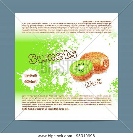 Template candy packaging. Kiwi sweets.