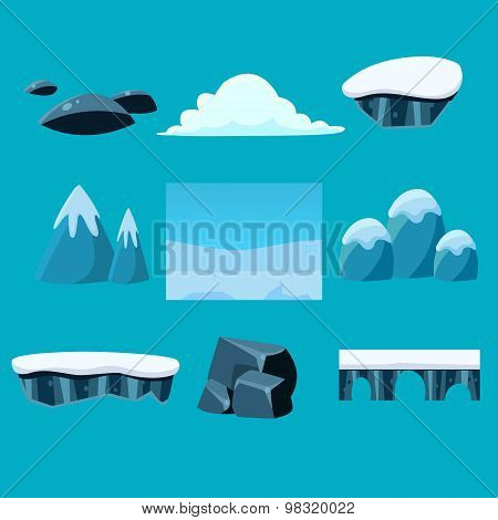 Cartoon nature landscape, vector unending background with ground, hills, river and sky layers.