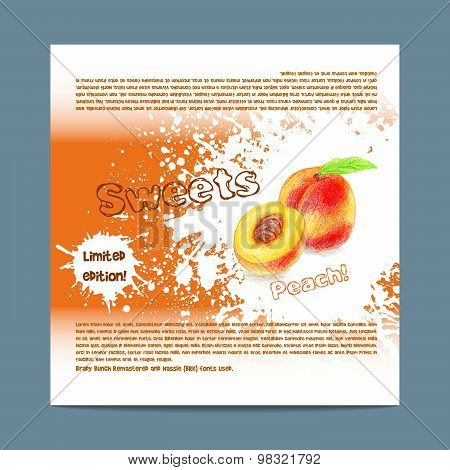 Template candy packaging. Peach sweets.