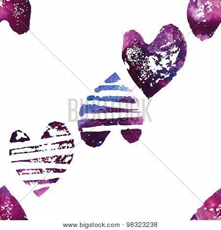 Seamless pattern with grunge hearts.