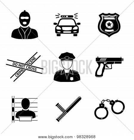 Set of monochrome police icons - gun, car, crime scene tape, badge, police men, thief, thief in jail, handcuffs, police club. Vector illustration poster