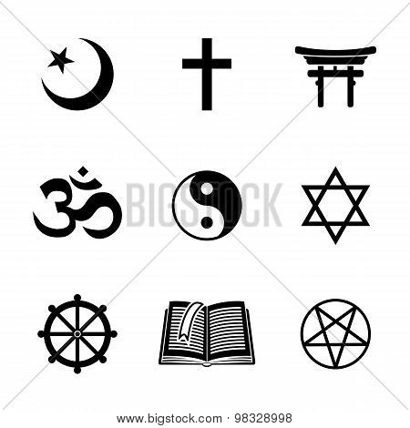 World religion symbols set with - christian, Jewish, Islam, Buddhism, Hinduism, Taoism, Shinto, pent
