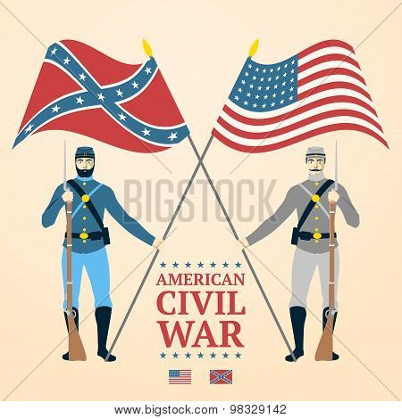 American Civil War illustration - southern and northern soldiers in uniform, holding flags, rifles.