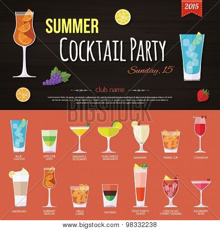 Summer cocktail party invitation and set of alcohol cocktails icons. Flat style design.