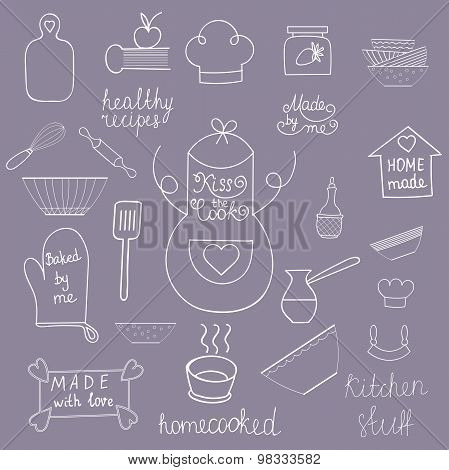 Kitchen tools set Kitchen utensils isolated Kitchen equipment collection Hand drawn kitchen doodles