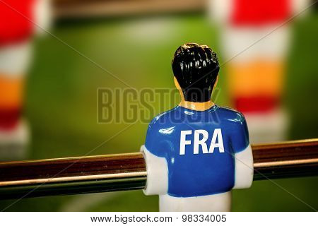 France National Jersey On Vintage Foosball, Table Soccer Game