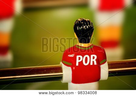 Portugal National Jersey On Vintage Foosball, Table Soccer Game