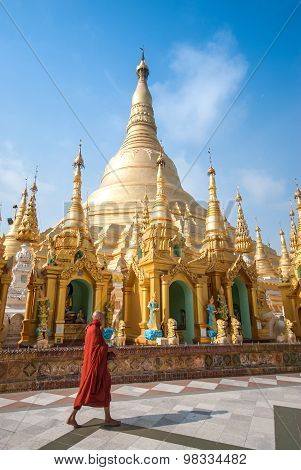 Buddhist Monk Walking In Shwedagon Pagoda