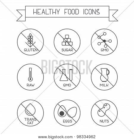 Healthy food linear icons