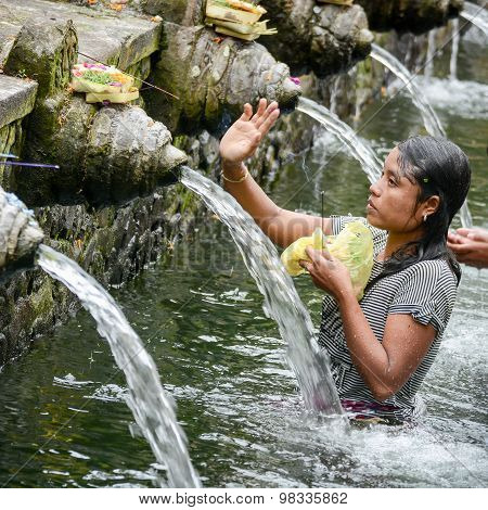 Holy Spring Water At Tirta Empul Temple