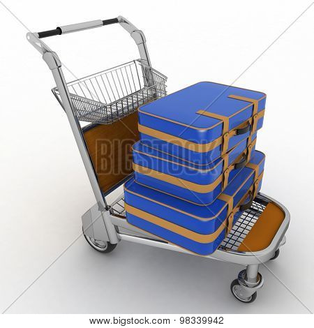 Suitcases on the light trolley of airport. 3d illustration on white background