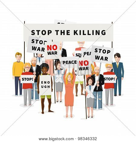 Stop war demonstration, crowd of people with posters, flat illustration on white