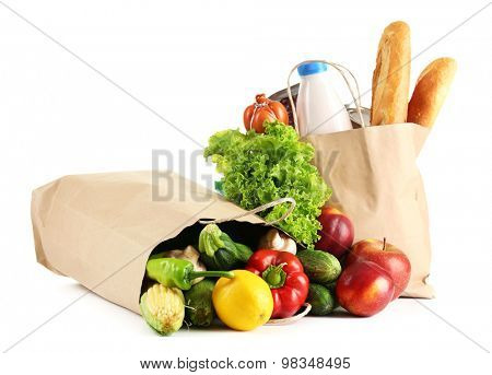 Paper bags with food isolated on white