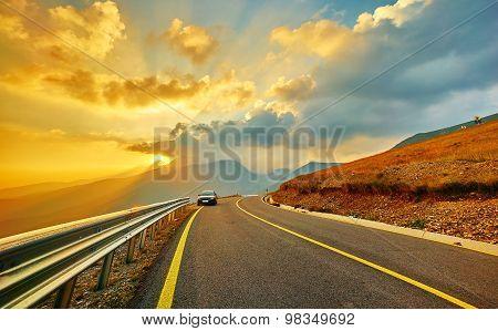 Sunset On Transalpina Mountain Road
