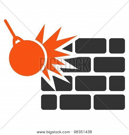 Destruction icon from Business Bicolor Set. Vector style: flat bicolor symbols, orange and gray colors, rounded angles, white background. poster