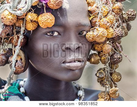 Beautiful Girl From Mursi Tribe, Ethiopia, Omo Valley