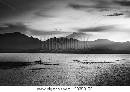 Lake in Thailand (Black and White)