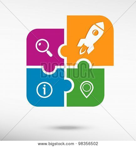 Rocket Icon On Colorful Jigsaw Puzzle