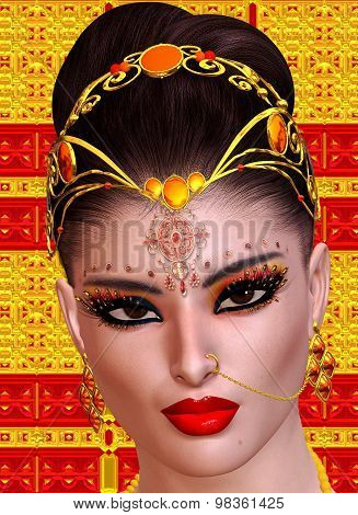 Exotic woman's face close up, Indian, Asian or Middle Eastern beauty concept.