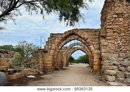 Archs In Ancient City Of Caesarea, Israel