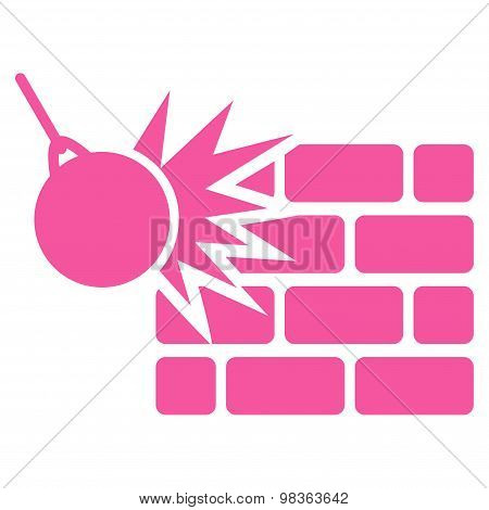 Destruction icon from Business Bicolor Set. Glyph style: flat symbols, pink color, rounded angles, white background. poster