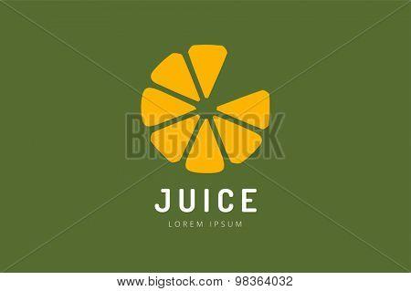 Lime or lemon fruit drink logo icon template design. Fresh, juice, drink, yellow, splash, vegetarian, cold. Stock vector