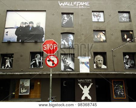The wall of fame in Temple Bar, Dublin, Ireland