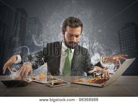 Overworked businessman