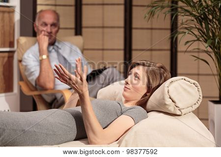 Female During Session With Psychoanalyst