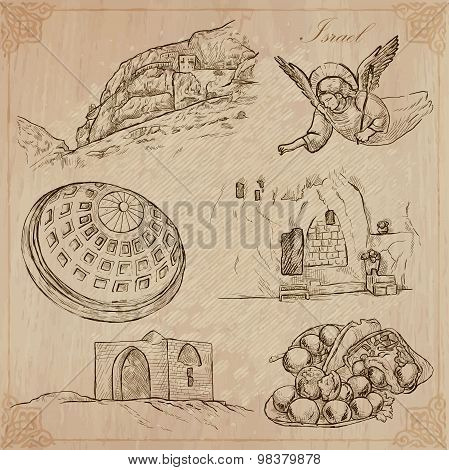 An hand drawn collection Travel - ISRAEL. Description Vector freehand sketches. Editable in layers and groups. Background is isolated. (Things buildings etc. are named inside the file. poster