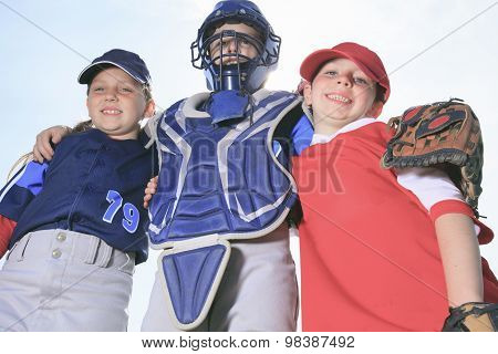 A baseball child team on the field