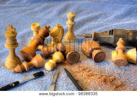 Hand Carved Chess Pieces