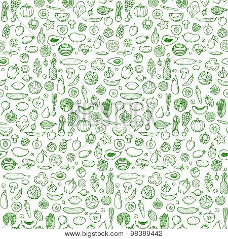 Vegetables and fruits Seamless hand drawn doodle pattern