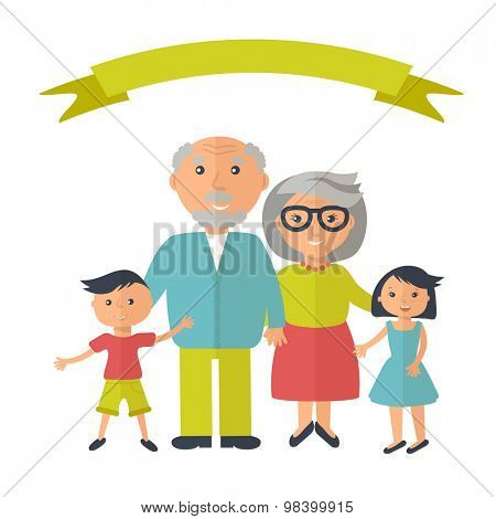 Senior grandparents with their grandchilds. People family concept. Flat style vector. Grandparent`s day illustration.