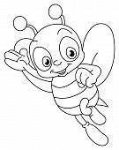 Outlined illustration of a bee for coloring books poster