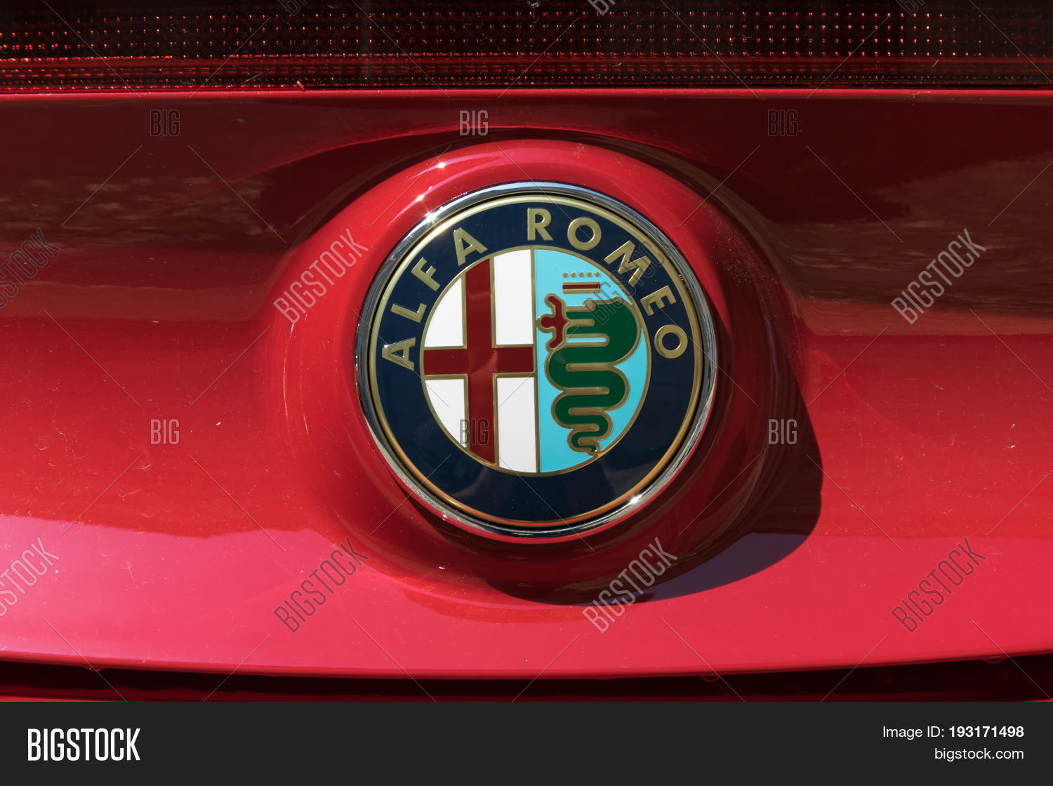 Turin Italy June 9 Image Photo Free Trial Bigstock Alfa Romeo Logo 2016 On A Red Car