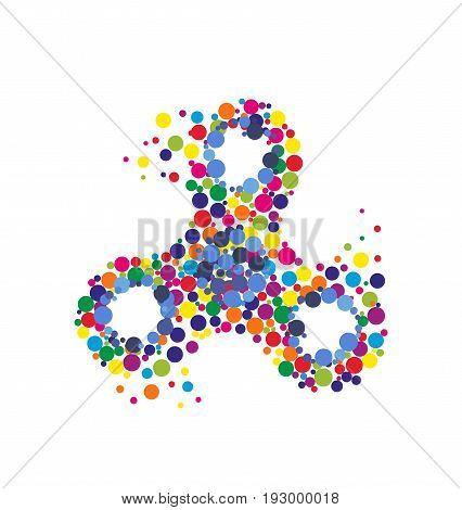 Creative abstract hand spinner fidget spinner. Vector modern flat style cartoon colorfull illustration icon design. Isolated on white background.Fidget spinner concept print design for t-shirtposter