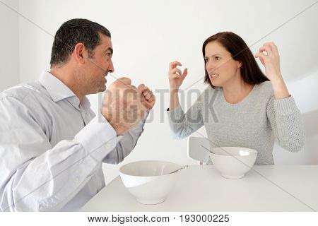 Couple Fighting During Meal Time