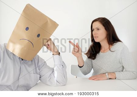 Sad Man Suffers From His Abusive Partner.