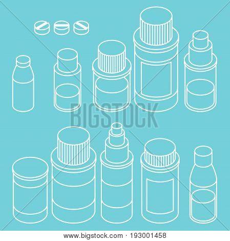 Flat 3d isometric pharmaceutics pharmacy drug line icon set