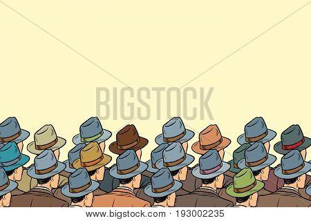 The audience background, men standing back. Pop art retro vector illustration