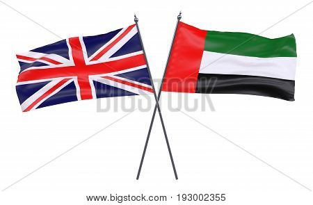 Great Britain and United Arab Emirates, two crossed flags isolated on white background. 3d image