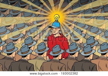 idea man in dull crowd. Pop art retro vector illustration