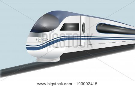 Super streamlined high-speed train. Concept railway tourism transportation and railroad travel. Vector illustration.