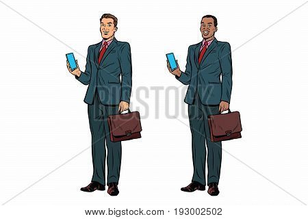 Two businessmen African American and Caucasian. Man with phone and briefcase in a business suit. Pop art retro vector illustration